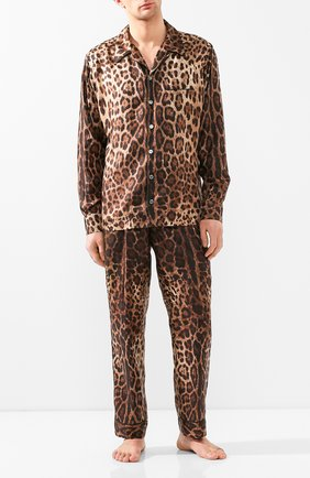 Мужские шелковые домашние брюки DOLCE & GABBANA коричневого цвета, арт. GW8BHT/IS1B7 | Фото 2