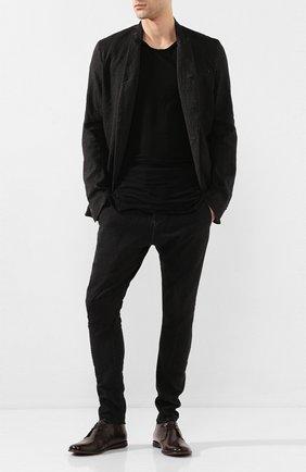 Мужской брюки из смеси льна и хлопка MASNADA черного цвета, арт. M2403 | Фото 2
