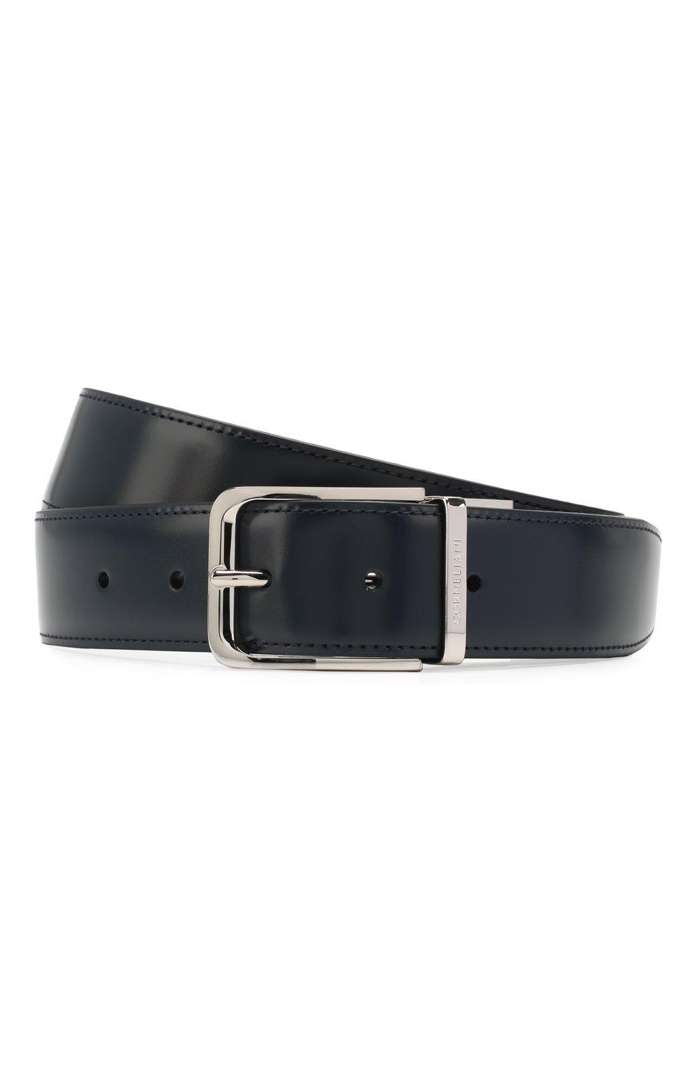 Мужской кожаный ремень CORNELIANI темно-синего цвета, арт. 00V305-0020849/00 | Фото 1 (Случай: Формальный)