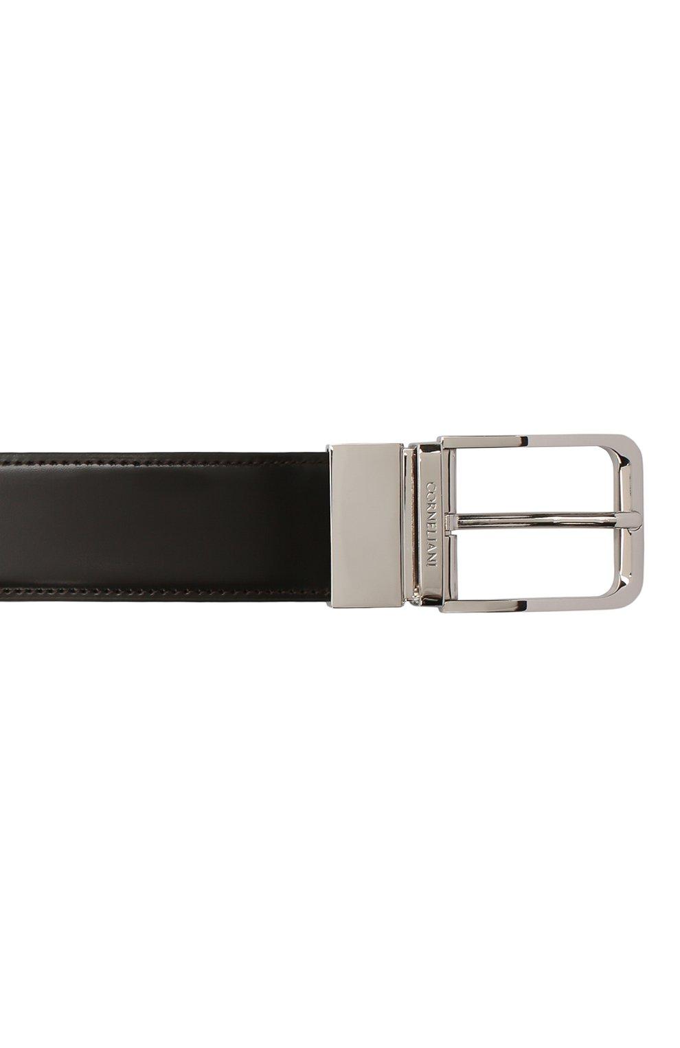 Мужской кожаный ремень CORNELIANI темно-коричневого цвета, арт. 00V305-0020849/00 | Фото 3 (Случай: Формальный)