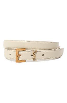 Женский кожаный ремень SAINT LAURENT белого цвета, арт. 554465/B000W | Фото 1 (Материал: Кожа)