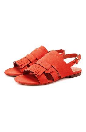 Женские замшевые сандалии SANTONI красного цвета, арт. WHBF58524HI1CLCPR37 | Фото 1
