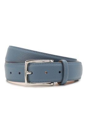 Мужской кожаный ремень CORNELIANI голубого цвета, арт. 85V316-0120826/00 | Фото 1