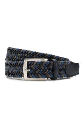 Мужской кожаный ремень CORNELIANI синего цвета, арт. 85V357-0120801/00 | Фото 1