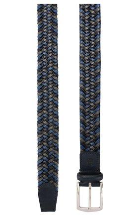 Мужской кожаный ремень CORNELIANI синего цвета, арт. 85V357-0120801/00 | Фото 2