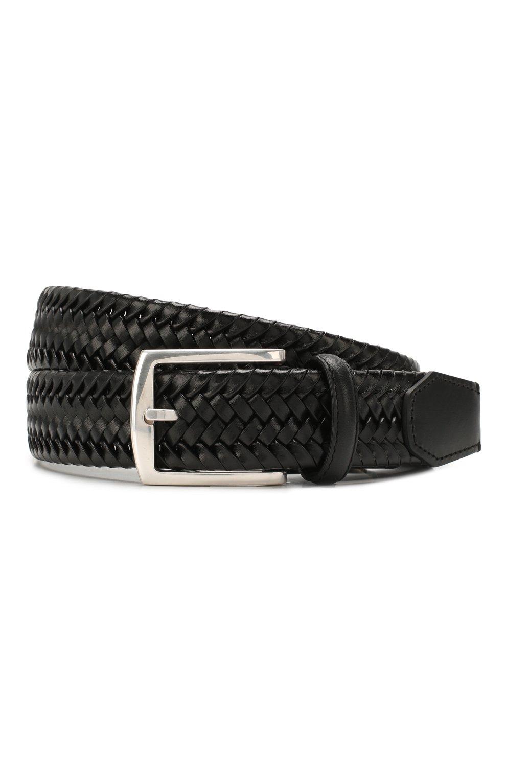 Мужской кожаный ремень CORNELIANI черного цвета, арт. 85V357-0120801/00 | Фото 1