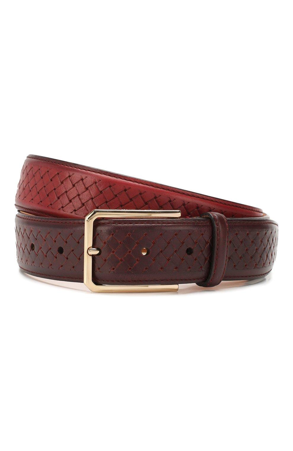 Мужской кожаный ремень SANTONI красного цвета, арт. CM35NC003B91HGSIR47 | Фото 1