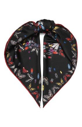 Женский шелковый платок ALEXANDER MCQUEEN черного цвета, арт. 619457/3001Q | Фото 1