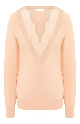 Женская пуловер из смеси шерсти и шелка CHLOÉ розового цвета, арт. CHC20SMP10550 | Фото 1