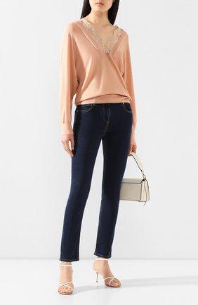Женская пуловер из смеси шерсти и шелка CHLOÉ розового цвета, арт. CHC20SMP10550 | Фото 2