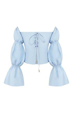 Женская льняная блузка CULT GAIA голубого цвета, арт. 53045L09 SKY   Фото 1 (Рукава: Длинные, С открытыми плечами; Материал внешний: Лен; Длина (для топов): Укороченные; Принт: Без принта; Женское Кросс-КТ: Блуза-одежда; Материал подклада: Лен; Статус проверки: Проверена категория)