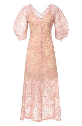 Женское шелковое платье CULT GAIA светло-розового цвета, арт. 50040E02 DSP   Фото 1 (Материал внешний: Шелк; Материал подклада: Шелк; Рукава: Короткие, 3/4; Статус проверки: Проверена категория; Случай: Вечерний; Длина Ж (юбки, платья, шорты): Макси)