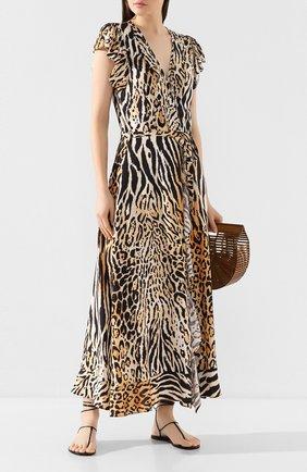 Женское платье из вискозы MELISSA ODABASH коричневого цвета, арт. BRIANNA   Фото 2