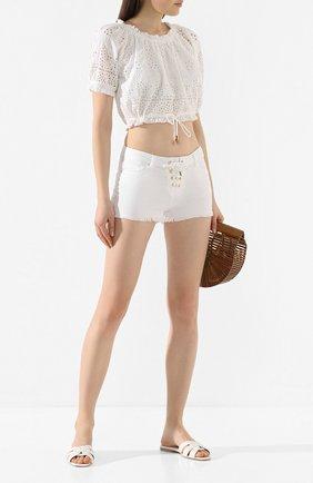 Женские джинсовые шорты MELISSA ODABASH белого цвета, арт. ALEXI   Фото 2