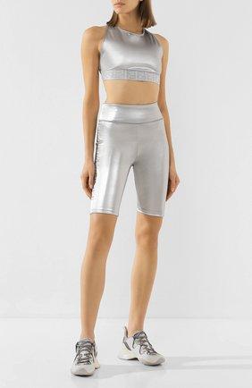 Женские шорты FENDI серебряного цвета, арт. FAB202 AB40 | Фото 2
