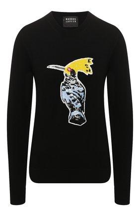 Женская пуловер с пайетками MARKUS LUPFER черного цвета, арт. KN2814 | Фото 1