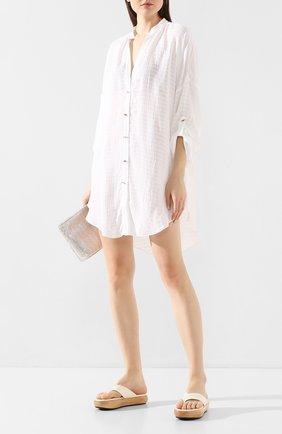 Женское туника из смеси вискозы и шелка LAZUL белого цвета, арт. CECILE SHIRT/WHITE 0ASIS | Фото 2