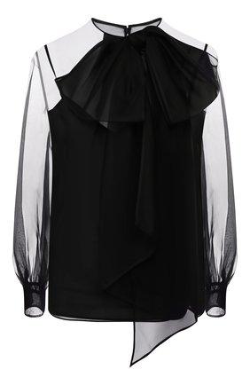 Женская шелковая блузка VALENTINO черного цвета, арт. TB0AE4U51C8 | Фото 1