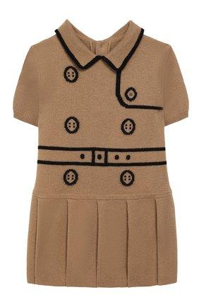 Женский шерстяное платье BURBERRY бежевого цвета, арт. 8022142 | Фото 1