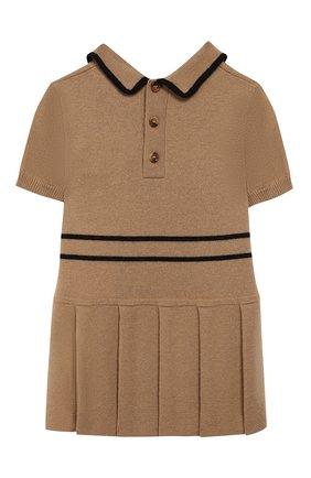 Женский шерстяное платье BURBERRY бежевого цвета, арт. 8022142 | Фото 2