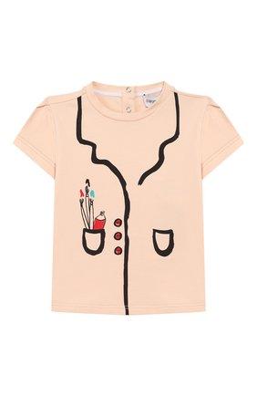 Детский хлопковая футболка EMPORIO ARMANI светло-розового цвета, арт. 3HET02/3J2IZ | Фото 1