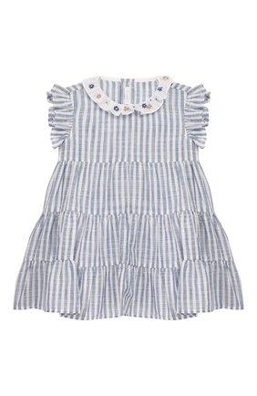 Женский хлопковое платье IL GUFO голубого цвета, арт. P20VM545C1066/12M-18M | Фото 1