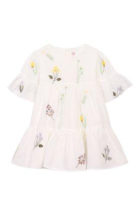 Женский хлопковое платье IL GUFO белого цвета, арт. P20VM544C0050/12M-18M | Фото 1