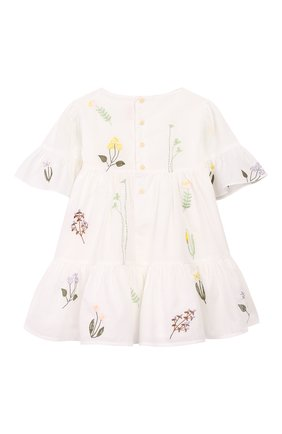 Женский хлопковое платье IL GUFO белого цвета, арт. P20VM544C0050/12M-18M | Фото 2
