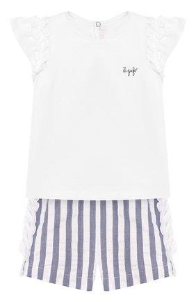 Детский комплект из футболки и шорт IL GUFO голубого цвета, арт. P20DP323C1057/3M-9M | Фото 1