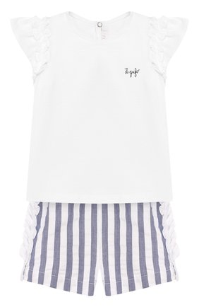 Детский комплект из футболки и шорт IL GUFO голубого цвета, арт. P20DP323C1057/12M-18M | Фото 1