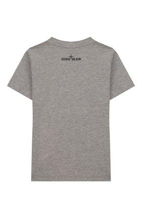 Детская хлопковая футболка STONE ISLAND серого цвета, арт. 721621059/4   Фото 2