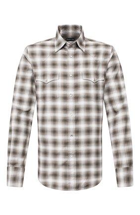 Мужская хлопковая рубашка TOM FORD коричневого цвета, арт. 7FT845/94MEKI | Фото 1 (Длина (для топов): Стандартные; Материал внешний: Хлопок; Рукава: Длинные; Принт: Клетка; Случай: Повседневный; Манжеты: На пуговицах; Воротник: Кент)