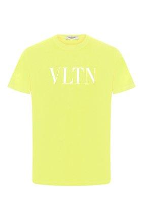 Мужская хлопковая футболка VALENTINO желтого цвета, арт. TV0MG10V3LE | Фото 1
