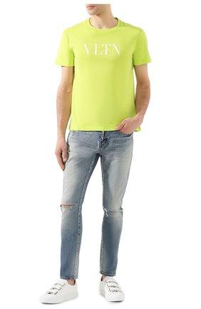 Мужская хлопковая футболка VALENTINO светло-зеленого цвета, арт. TV0MG10V3LE | Фото 2