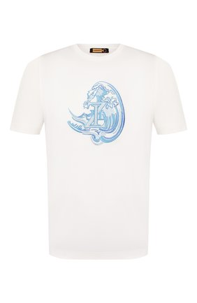 Мужская хлопковая футболка ZILLI белого цвета, арт. MET-NT340-NEWA1/MC02   Фото 1