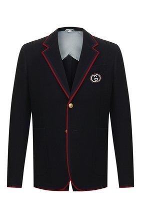 Мужской пиджак из смеси шерсти и хлопка GUCCI синего цвета, арт. 590578/ZAC3R | Фото 1