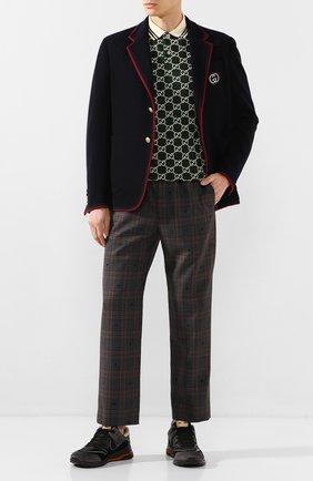 Мужской пиджак из смеси шерсти и хлопка GUCCI синего цвета, арт. 590578/ZAC3R | Фото 2