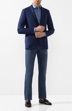 Мужская хлопковая рубашка ZILLI синего цвета, арт. MFT-MERCU-56056/RJ01 | Фото 2