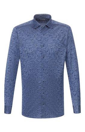 Мужская хлопковая рубашка ZILLI темно-синего цвета, арт. MFT-MERCU-56057/RJ01 | Фото 1 (Длина (для топов): Стандартные; Материал внешний: Хлопок; Рукава: Длинные; Принт: С принтом; Случай: Повседневный; Манжеты: На пуговицах; Воротник: Акула)