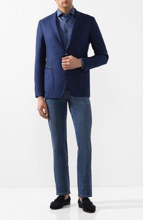 Мужская хлопковая рубашка ZILLI темно-синего цвета, арт. MFT-MERCU-56057/RJ01 | Фото 2 (Длина (для топов): Стандартные; Материал внешний: Хлопок; Рукава: Длинные; Принт: С принтом; Случай: Повседневный; Манжеты: На пуговицах; Воротник: Акула)