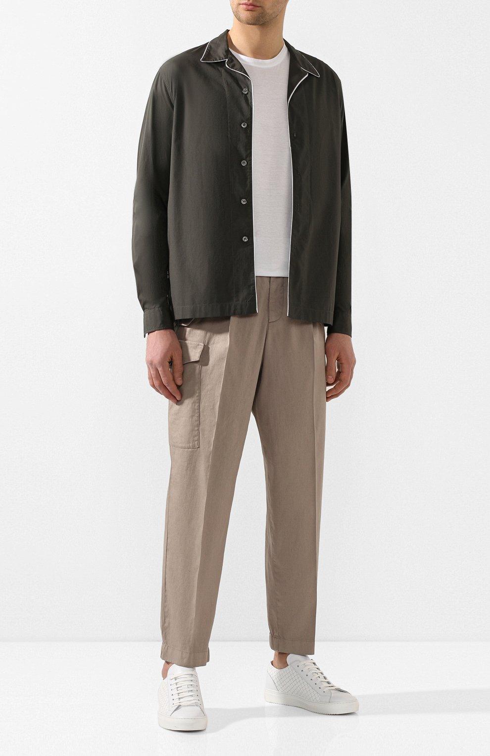 Мужская хлопковая рубашка GIORGIO ARMANI хаки цвета, арт. 0SGCCZ29/TZ567 | Фото 2