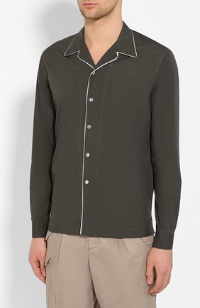 Мужская хлопковая рубашка GIORGIO ARMANI хаки цвета, арт. 0SGCCZ29/TZ567 | Фото 3