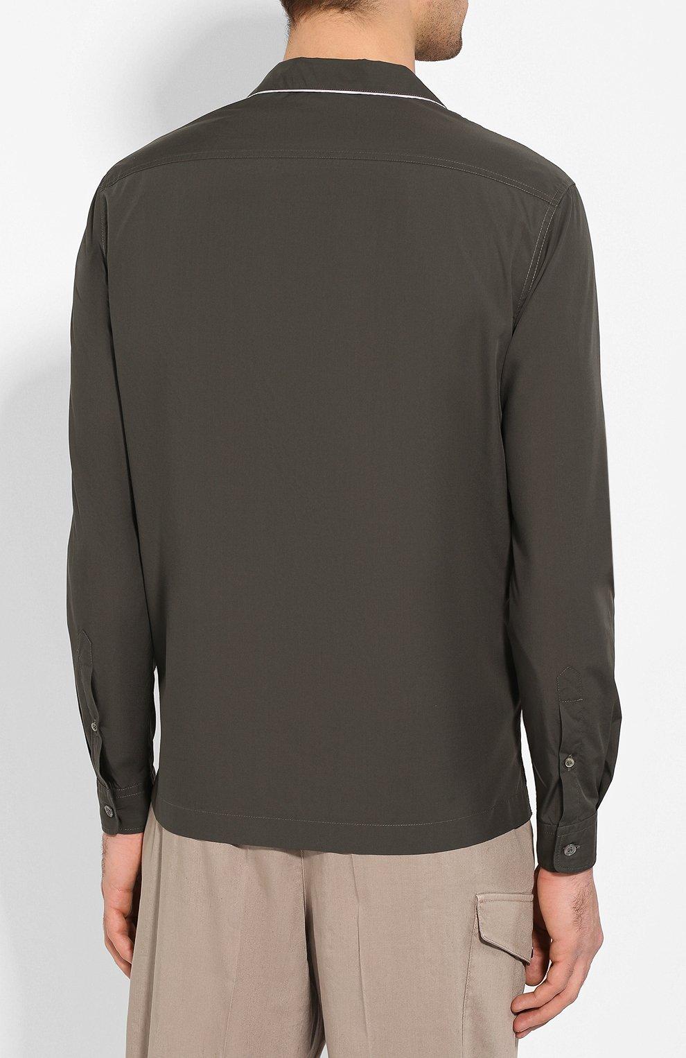 Мужская хлопковая рубашка GIORGIO ARMANI хаки цвета, арт. 0SGCCZ29/TZ567 | Фото 4