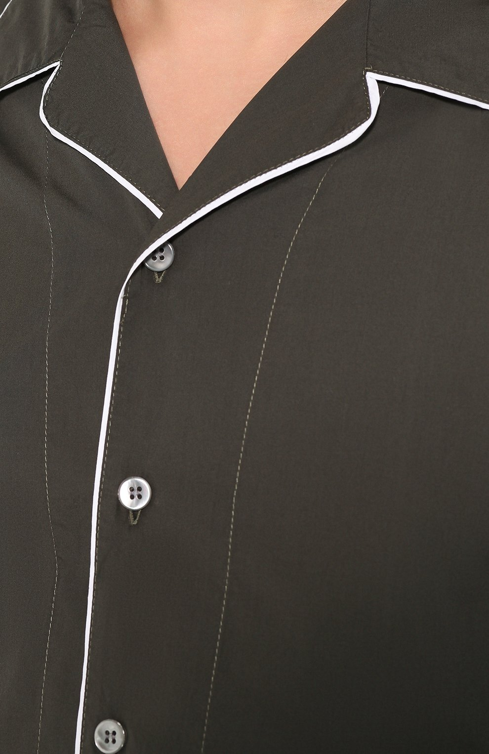 Мужская хлопковая рубашка GIORGIO ARMANI хаки цвета, арт. 0SGCCZ29/TZ567 | Фото 5