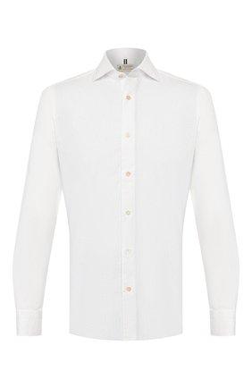 Мужская рубашка из смеси льна и хлопка LUIGI BORRELLI белого цвета, арт. EV08/NAND0/TS9029 | Фото 1 (Рукава: Длинные; Длина (для топов): Стандартные; Материал внешний: Лен, Хлопок; Принт: Однотонные; Случай: Повседневный; Манжеты: На пуговицах; Воротник: Акула)