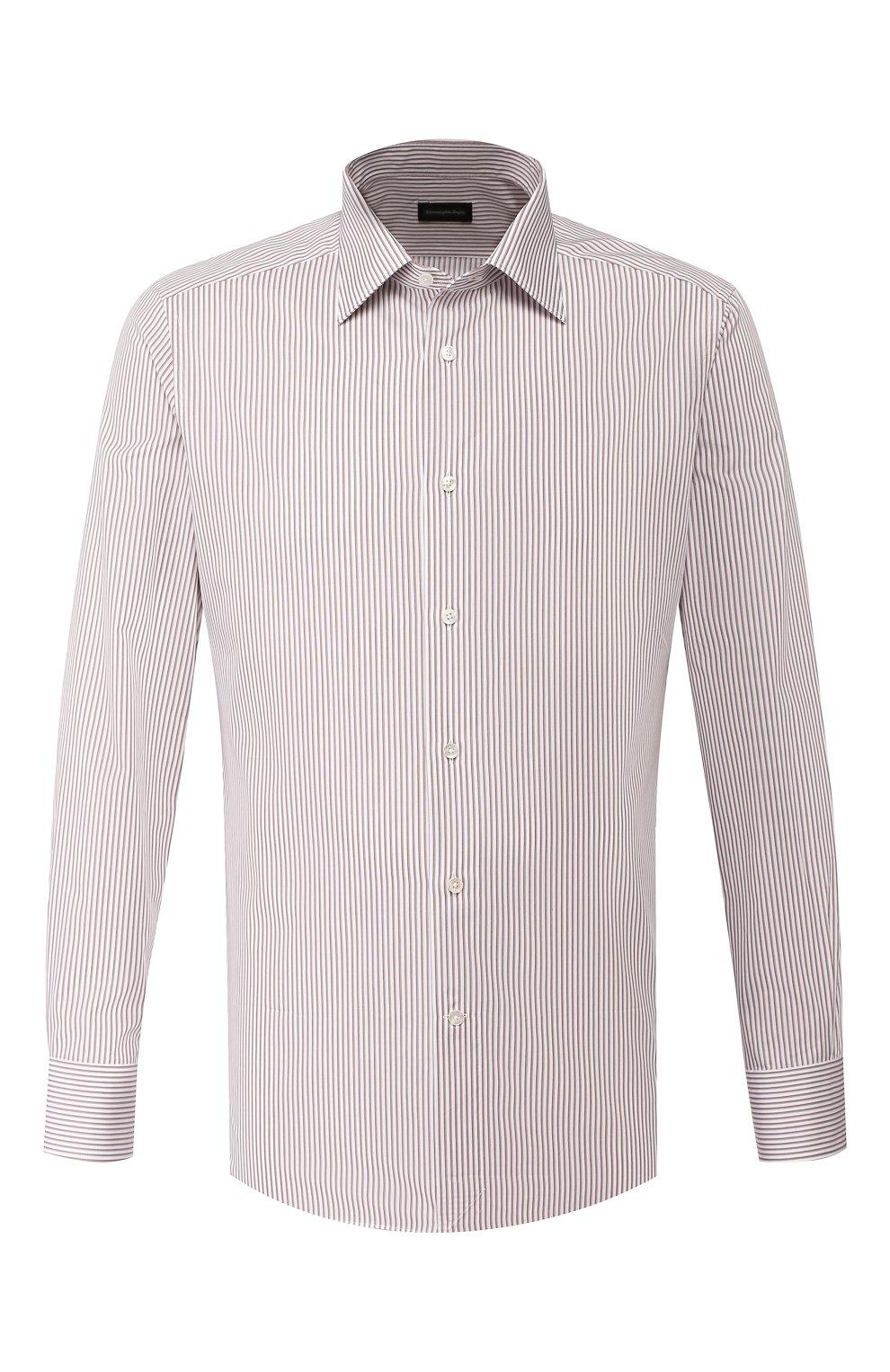 Мужская хлопковая сорочка ERMENEGILDO ZEGNA коричневого цвета, арт. 701329/9MS0PA   Фото 1