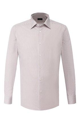 Мужская хлопковая сорочка ERMENEGILDO ZEGNA коричневого цвета, арт. 701329/9MS0PA | Фото 1