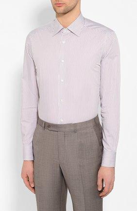Мужская хлопковая сорочка ERMENEGILDO ZEGNA коричневого цвета, арт. 701329/9MS0PA   Фото 3