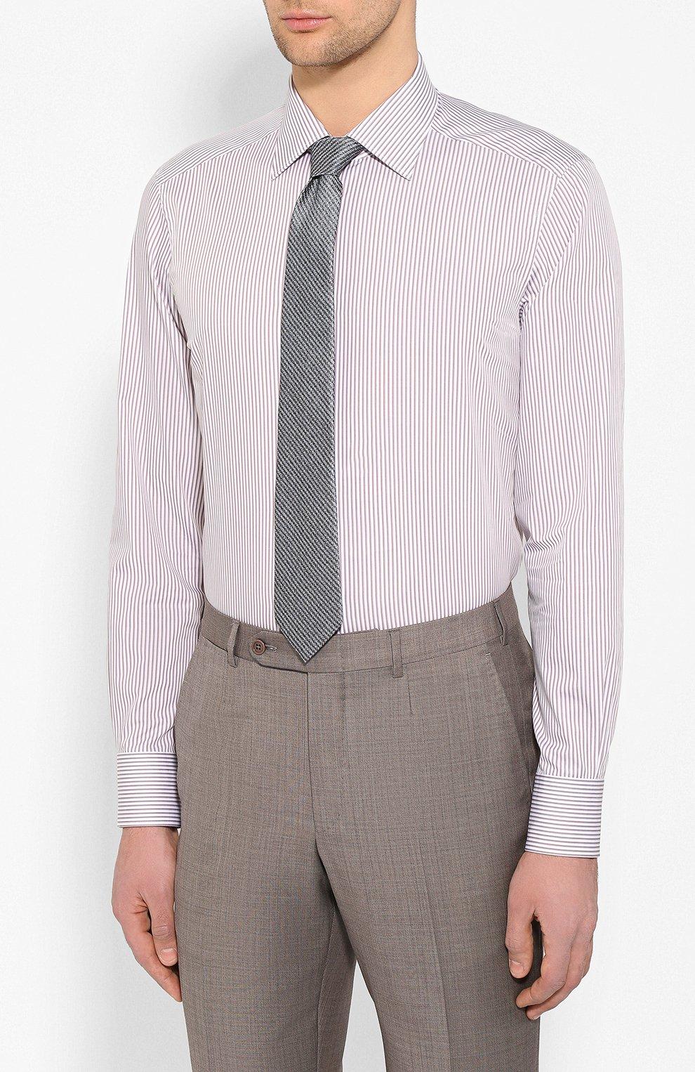 Мужская хлопковая сорочка ERMENEGILDO ZEGNA коричневого цвета, арт. 701329/9MS0PA   Фото 4
