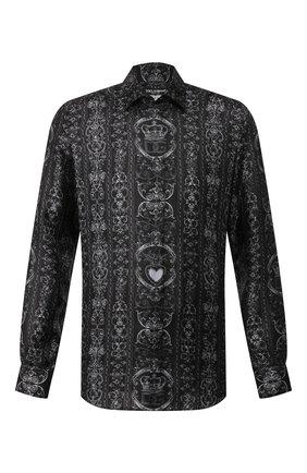 Мужская шелковая рубашка DOLCE & GABBANA темно-серого цвета, арт. G5GZ1T/HS18W   Фото 1